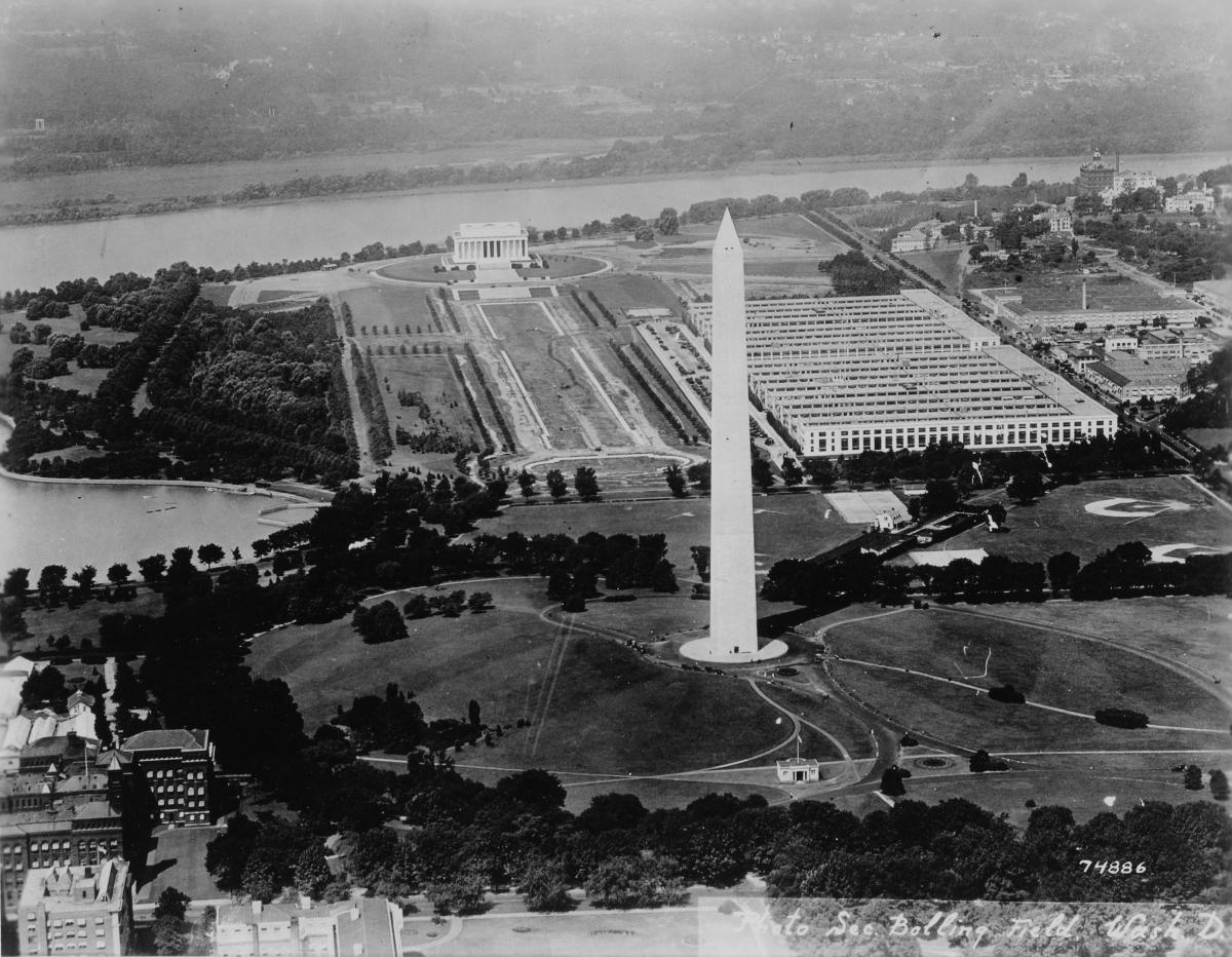 Aerial view west to Lincoln Memorial