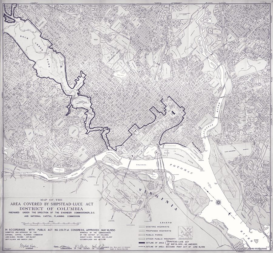 Map of the Area Covered by Shipstead Act, District of Columbia, 1962
