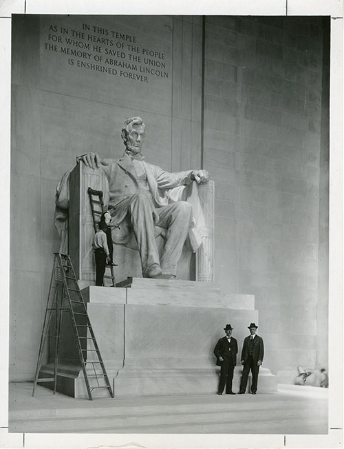 Daniel Chester French & Henry Bacon in front of Lincoln Statue