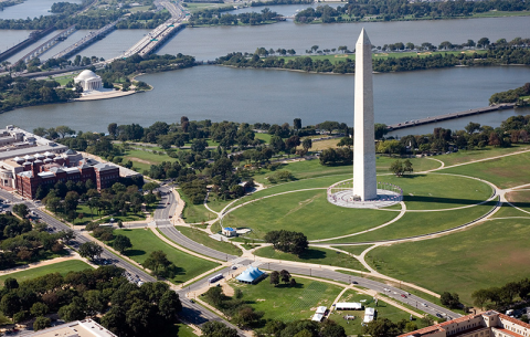Washington Monument aerial photo